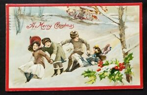 Antique Christmas Card die cut Embossed design Young boys and girls Albany 1909