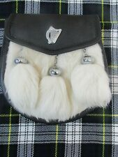 White Rabbit & Leather w/ Irish Harp Badge Sporran Kilts w/ Free Chain Belt