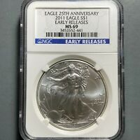 2011 Silver Eagle NGC MS69, 25th Anniversary, Early Releases (57706)