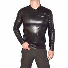 weiches LACK SHIRT* Longshirt langarm TOP* M-L Oberteil für Herren* wetlook Hemd