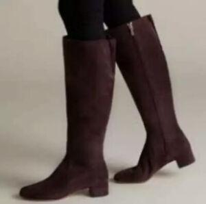 Clarks Orabella Ava Ladies Aubergine Suede Knee High Boots [1940] UK 3 EU 35.5