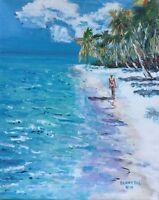 BEACH Ocean Palm Original Art PAINTING DAN BYL Modern contemporary Huge 4x5ft