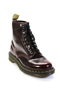 Dr. Martens Womens Patent Leather Lace Up Ankle Combat Boots Red Size 8