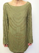 NATASHA khaki beaded long flare sleeve dress sz medium