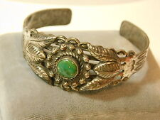Vintage Southwestern design Old Turquoise Silver Cuff Bracelet 6f 34