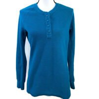 Duluth Trading Womens Small Teal Blue Longtail Winter Waffle Henley Top