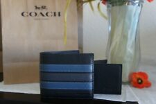 NWT Coach F24649 Men's 3-In-1 Varsity Leather Stripe Compact ID Wallet $178