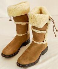 LL Bean Women's Suede Sherpa Fleece Lined Tan Winter Snow Boots Brown 11 M Tall