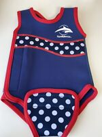 Babywarma Wetsuit Swimsuit 0-6 Months Navy Red Spot