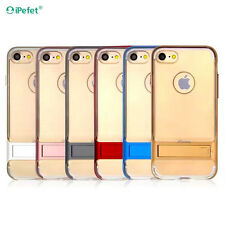 iPefet Transparent clear metal texture bumper Stand case cover for iPhone 6/7/7P