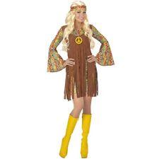 DAMEN HIPPIE KLEID Karneval 70er Jahre Flower Power Peace Kostüm Stirnband  0652