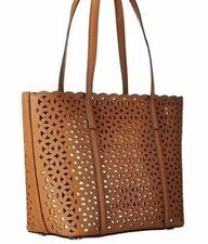 New Michael Kors Desi Small Travel Tote Acorn Perforated Saffiano leather bag