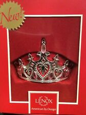 New Bnib Lenox Princess Crown Ornament Silverplate with Pink Crystals $40 865894