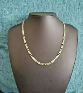9 kt Gold Flattened Curb Necklace /Chain- 47cm  18 inches 14.2 grams Hallmarked