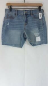 Old Navy Women's Teens Size 0 Hot Slim Distressed Light Blue Raw Hem Jean Shorts