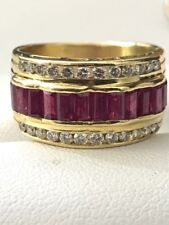 LeVian 18K Yellow Gold Baguette Ruby Round Diamond Ring Band Retailed at $7,500