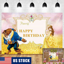 Beauty and The Beast Backdrop for Kids Birthday Cartoon Party Decor Background