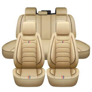 Universal Car Seat Covers PU Leather 5 Seats Front Rear Seat Cushion Beige