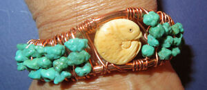 1 of a Kind Hand Made Copper turquoise Carved Fish Cuff Bracelet by O. Arakelian