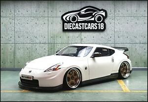 """1/18 Tuning Nissan Fairlady 370Z White Nismo Coupe Modified Rims 19"""""""