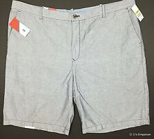 Izod Newport Oxford Shorts Size 44 Blue Flat Front Cotton Chambray Classic Fit