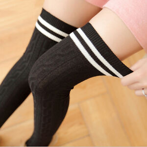 Women's Thigh High Over The Knee Stockings Soft  Extra Long Opaque Cotton Socks