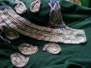 Original Vintage  Sequinned and Beaded sew on motif appliqué trim used