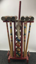 Vintage RADEMAKER 6 Player ALL Wooden Croquet Set With Stand - COMPLETE