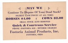 1941 Dispose Dead Horses $4.00 & Dead Cows $2.00  Animal Products  FOSTORIA, OH