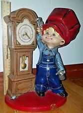 Vintage Byron Mold Ceramic Train Conductor Boy Enginer Grandfather Clock 1975