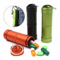 Large Waterproof Aluminum Pill Box Case Bottle Holder Outdoor Keyring Conta U3R3