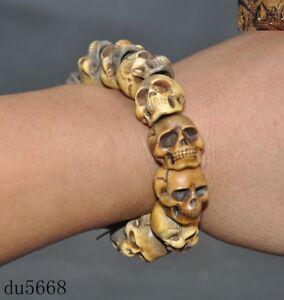 "5"" Old Tibetan Buddhism carved Tara skull amulet bracelet Hand chain"