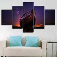 Starry Night Sky Boat Stars 5 Panel Canvas Print Wall Art Poster Home Decoration