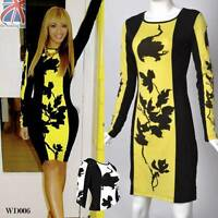 Womens Celebrity Style Floral Long Sleeve Ladies Bodycon Party Tunic Dress WD006