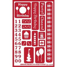 Armour Reusable Over n Over Glass Etching Stencil - Happy Birthday
