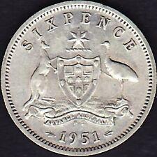 1951 Australia KGVI 6d Sixpence TGA17