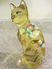 "Fenton Glass 2010 Buttercup Handpainted 5"" Cat"