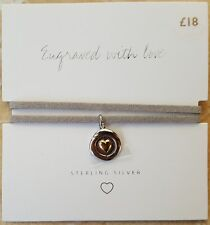 NEW Next Sterling Silver 925 Cord Detail Bracelet Sister Engraved With Love