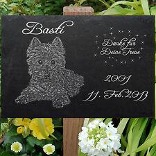 West Highland Terrier GRABSTEIN Hunde Hund-028 ►LASER - Textgravur ◄ 30 x 20 cm