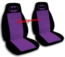 Batman Car Seat Covers in Purple & Black Velour Front Set