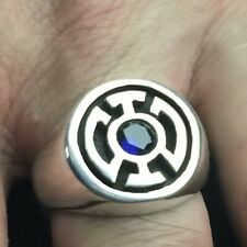 MJG STERLING SILVER BLUE LANTERN RING.. 6mm LAB SAPPHIRE. SZ 9 1/2. COMIC CON