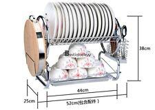 2-Tier - Stainless Steel Kitchen Dish Plate Rack Utensil Holder Drainer Drying