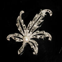 Vintage Cultured Pearl & Marcasite Sycamore Sterling Silver 925 Brooch