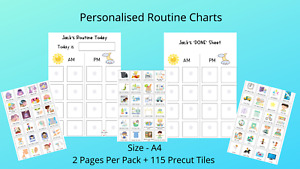 PERSONALISED Routine Chart & 115 Changeable Tiles