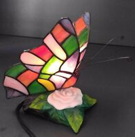 Butterfly Night Light  Beautiful Tiffany Style Stained Glass Accent Lamp 8""