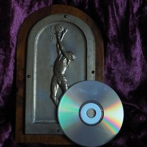 Antique Basketball USA Muscle Man Sport Bronze Medal Plaque Sculpture Award Win