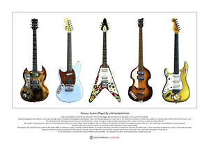 5 Famous Left-handed Guitars Limited Edition Fine Art Print A3 size
