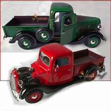 TWO 1937 Ford Pickup Truck GREEN, RED 1/24 Scale Diecast Showcast UNBOXED