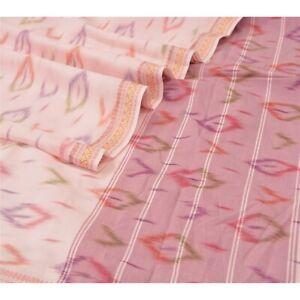 Sanskriti Vintage Dupatta Long Stole Pure Cotton Pink Hand-Woven Ikat Hijab