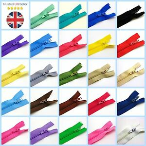 """Nylon Zips for Sewing & Crafts Closed End Auto Lock COLOUR CHOICE 6"""" 8"""" 10"""" ML"""
